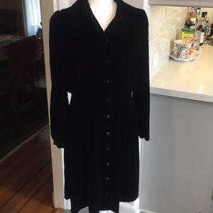 Anthropologie black velvet coat dress size 10